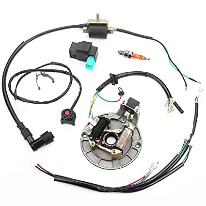 Qauick Kick Start Dirt Pit Bike Wire Harness Wiring Loom Cdi Ignition Coil Magneto Spark Plug Rebuild Kit For 50cc 125cc Stator Cdi Coil Atv Quad Bike Buggy Go Kart Amazon In Car