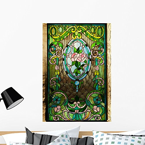 Wallmonkeys Beautiful Stained-Glass Window Wall Decal Peel and Stick Graphic WM324345 (36 in H x 25 in W)