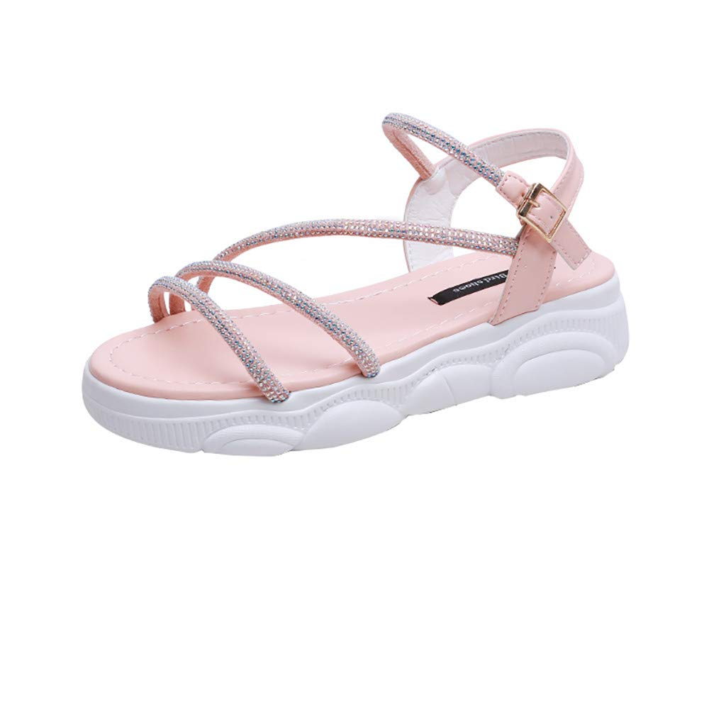 Women's Platform Sandals Summer Casual Wedge Ankle Strap Buckle Studded Open Toe Sandals Pink