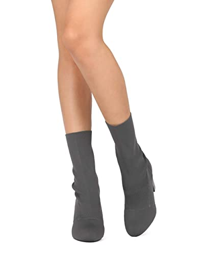 60892d950dd0 Indulge Sophie-I Women Knitted Fabric Mid Calf Block Heel Sock Boot HE42 -  Grey