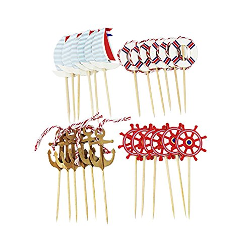 SUNBEAUTY 48pcs Nautical Theme Cupcake Toppers Food Fruit Picks for Ocean Birthday Baby Showers Event Party Decoration]()
