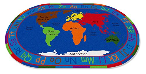 """Kid Carpet FE789-35A All All Around The World Map Oval Nylon Area Rug, 6' x 8'6"""", Multicolored"""