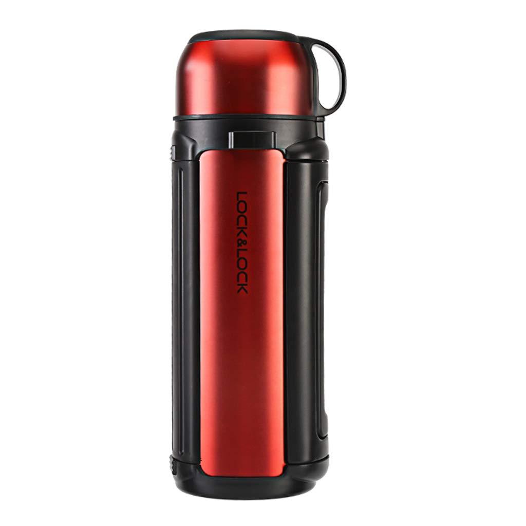 大容量の携帯用ステンレス鋼の絶縁された鍋、1.8L引き込み式のハンドル、自動運転のキャンプのハイキング (色 : Red, サイズ さいず : 1800ml) 1800ml Red B07M649VXP