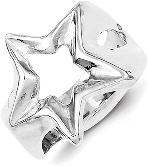 Solid 925 Sterling Silber Glieder Hohl Stars Schlag Stapel Ring Offen Band Box