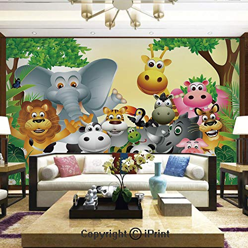 Self-Adhesive Large Wallpaper Better Designs for Living Room,Cute Animals in Jungle Elephant Giraffe Panda Bear Pig Lion Hippo Rhino Cartoon,Home Decor - 66x96 inches