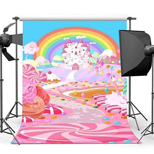 (EARVO Cartoon Candyland Backdrop 5x7ft Castle Rainbow Photography Background Kids Party Dessert Table Decoration Cotton Backdrop (Wrinkle Resistance) Photo Booth Props)