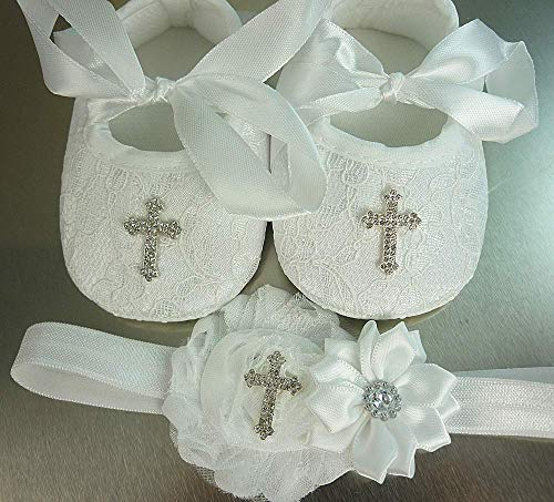 - Christening Shoes and Headband Set, White Lace Baptism Footwear with Small or Large Rhinestone Cross, Soft Crib Wedding Slippers, 1st Birthday, Photos, Sizes: Newborn-18 mos, USA Made