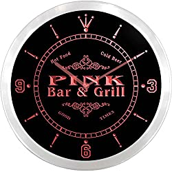 ncu35191-r PINK Family Name Bar & Grill Cold Beer Neon Sign LED Wall Clock