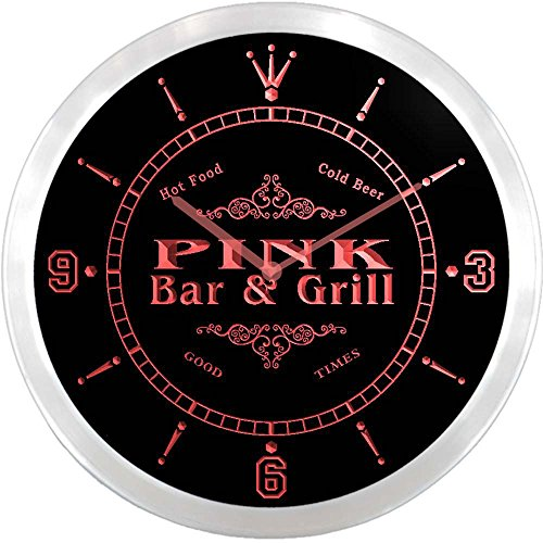 ncu35191-r PINK Family Name Bar & Grill Cold Beer Neon Sign LED Wall (Pink Neon Wall Clock)
