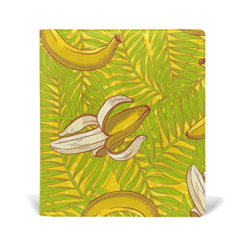 AURELIOR Palm Leaves And Bananas Pattern Stretchable PU Leather Book Cover 9 x 11 Inches Fits for School Hardcover Textbooks for sale