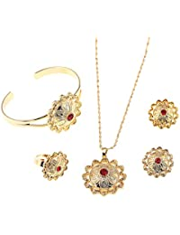 Ethiopian Bride Gold Color Jewelry Sets With Stone African Ethnic Gifts Eritrean Habesha Wedding