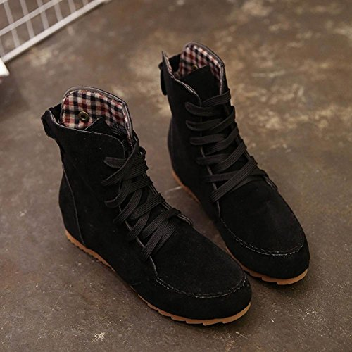 SOMESUN Flat Ankle Snow Motorcycle Boots Women Female Suede Leather Lace-Up Boot Black z0Qosn