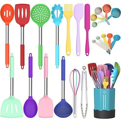 Silicone Cooking Utensil Set, Fungun Non-stick Kitchen Utensil 24 Pcs Cooking Utensils Set, Heat Resistant Cookware…