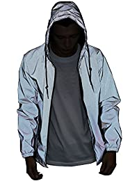 Reflective Jacket Casual Hiphop Windbreaker Night Sporting Coat Hooded Fluorescent Clothing