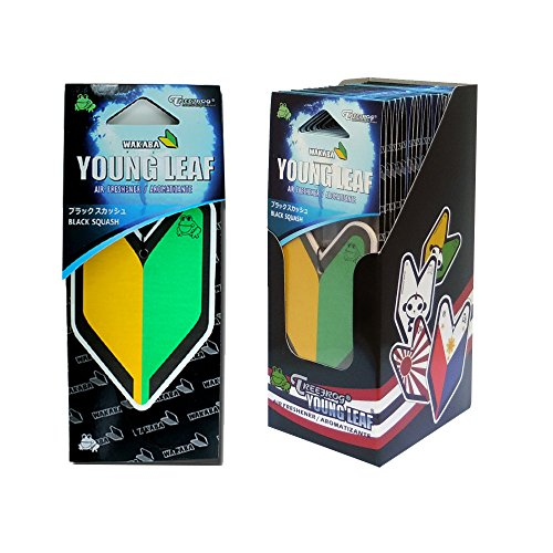 Wakaba Young Leaf YLBS95  Japan Tree Frog  Squash Scents JDM Air Freshener, Black, 1 Box, 24 Piece