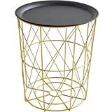 Pallet Coffee Table with Storage LILISHANGPU Folding Table- Nordic Coffee Table Wrought Iron Furniture Multifunctional Gold Storage Basket Dining Table Living Room Side Table (Size : H:43.5W39cm)