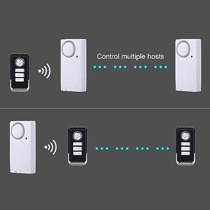 Lorenlli Seguridad de Puerta/Ventana inalámbrica Alarma de Voz Control Remoto y Sensor magnético Antirrobo Timbre de la Puerta Entrada de Seguridad ...