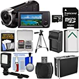 Sony Handycam HDR-CX440 8GB Wi-Fi 1080p HD Video Camera Camcorder 64GB Card + Hard Case + LED Light + Battery & Charger + Tripod + Kit