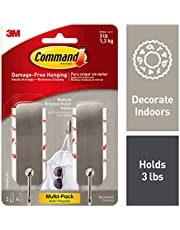 Command 17034BN-2ES Medium Brushed Nickel Decorative, 2 Hooks Per Pack