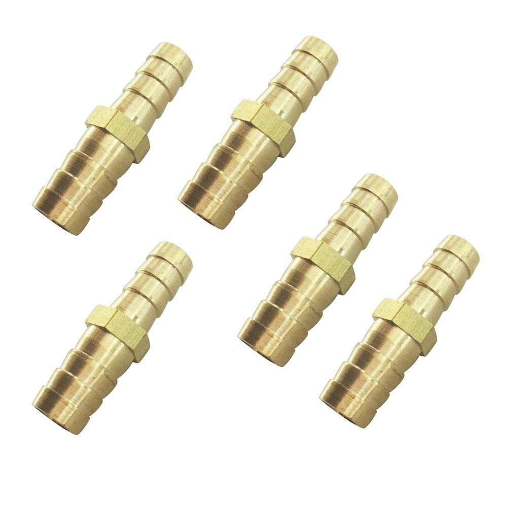 Avanty 1//2 x 3//8 Barb Reducing Splicer Mender Union Brass Hose Barbed Fitting Air Water Fuel Hose Reducer Joiner 5pcs