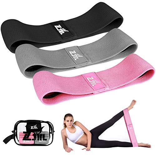 ZJTL Resistance Bands, Strength Booty Bands, Fabric Elastic Loop Exercise Bands, Fitness Hip Bands for Legs and Butt - with Workout Book & Carry Bag (Set of 3)