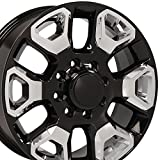 20x8 Wheel Fits Dodge, RAM Trucks - 8 Lug 2500, 3500 Style Black Rim w/Chrome Inserts, Hollander 2562 - SET
