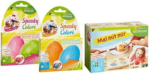 mit 4 Farben Oster-Eier Mal-Set Schablonen aus Kunststoff Pinsel zum Anmalen