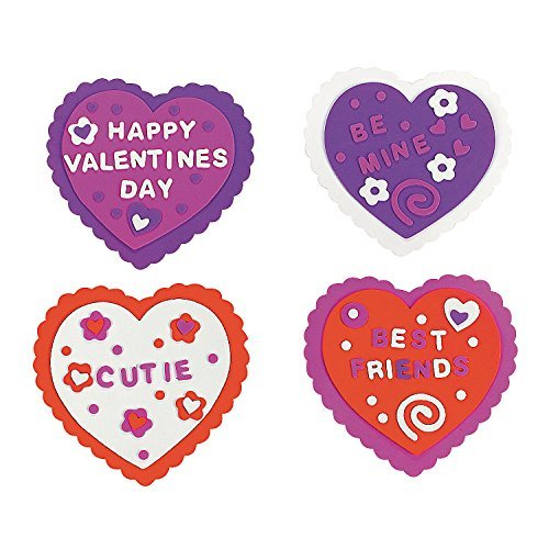 Design it Yourself Foam Valentine Craft Kit ~ 24 Hearts and 832 Foam Stickers, Makes 12 - Foam Valentine Crafts