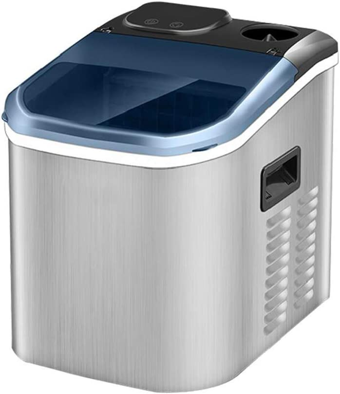 STARAYS Countertop Ice Machine, Stainless Steel Portable Electric Ice Cream Machine, 9 Cube Ice / 10-15 Minutes, 55 Lbs / 24H, Two Water Inlet Methods, Milk Tea Coffee Shop Bar