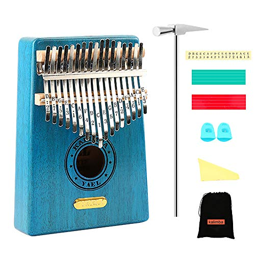 QStyle Kalimba 17 Key Thumb Piano Include Tuning kit Hammer and Study Instruction & Simple Sheet Music Suitable for kids Adult Beginners, Professionals - Perfect Gift (blue)