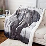 #7: Elephant Printed Throw Blanket Black & White Sherpa Throw Luxury Animal Blanket 50