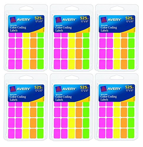 Avery Colored Labels, 525 per Pack, Rectangular, Assorted Colors, 6 PACK = Total 3150 Labels