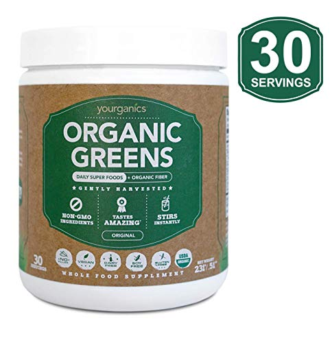 Organic Greens by Yourganics™ | Daily Green Juice Powder Supplement | Non-GMO, Soy and Gluten Free, Fiber, Keto & Paleo Friendly | Superfoods with Wheat Grass (30 Servings) ()
