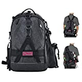 Fiblink Fishing Tackle Backpack Large Waterproof Tackle Bag Storage Outdoor Shoulder Backpack Cross Body Sling Bag (Dark Gray)