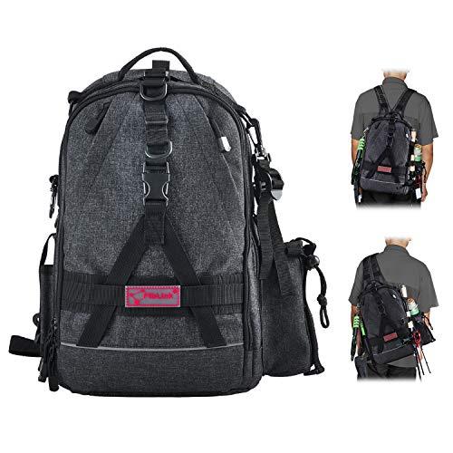 Fiblink Fishing Tackle Backpack Large Waterproof Tackle Bag Storage Outdoor Shoulder Backpack Cross Body Sling Bag (Dark Gray) (Fishing Tackle Box Backpack)