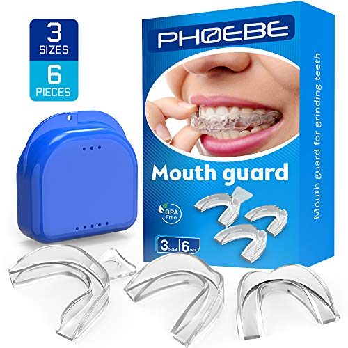 PHOEBE Mouth Guard for Grinding Teeth BPA-Free Night Guards for Teeth Grinding Mouldable Tooth Bite Guard Stop Teeth Grinding Clenching -FDA Approved - Eliminates Bruxism, TMJ -3 Sizes, 6 Pieces