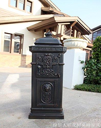 Antique Rural Mailbox - Retro European-style Villa Mailbox Outdoor Cast Aluminum Rural Letterbox Rainproof Postbox Newspaper Stand Post Mailboxes (Antique bronze)