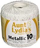 Coats Crochet Aunt Lydia's Crochet, Cotton Metallic Size 10, White/Pearl