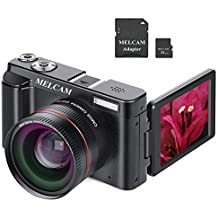 "Digital Camera Video Camcorder, Full HD 1080P 24.0MP MELCAM YouTube Vlogging Camera with Wide Angle Lens and 32GB SD Card, 3.0"" Screen, WiFi Function, Face Detection, Flash Light, 16 Digital Zoom"
