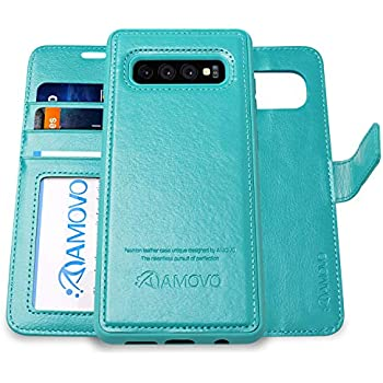 AMOVO Case for Galaxy S10 Plus/S10+ (6.4) [2 in 1] Samsung Galaxy S10 Plus Wallet Case Detachable [Vegan Leather] [Wrist Strap] S10+ Flip Case with Gift ...