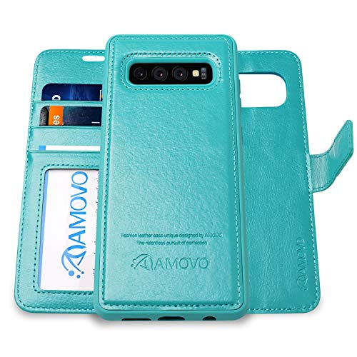 Aqua Case - AMOVO Case for Galaxy S10 Plus/S10+ (6.4'') [2 in 1] Samsung Galaxy S10 Plus Wallet Case Detachable [Vegan Leather] [Wrist Strap] S10+ Flip Case with Gift Box Package (S10Plus (6.4'') Aqua)