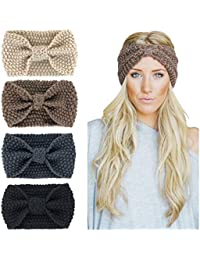 Womens Winter Knitted Headband - Soft Crochet Bow Twist Hair Band Turban  Headwrap Hat Cap Ear 02c8ccd29d6