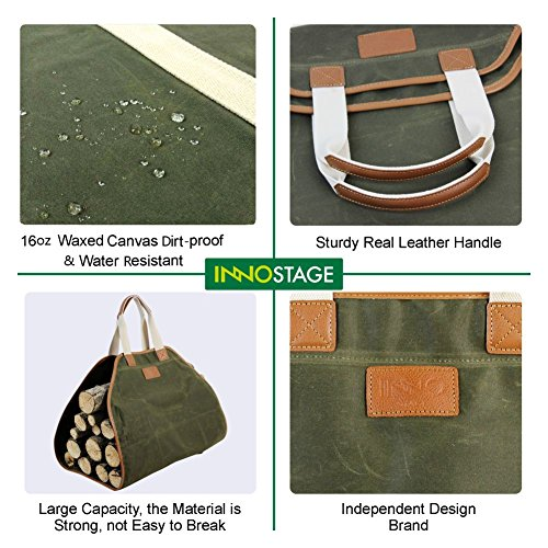 INNO STAGE Canvas Log Carrier Bag,Waxed Durable Wood Tote,Fireplace Stove Accessories,Extra Large Firewood Holder with Handles for Camping Green by INNO STAGE (Image #4)
