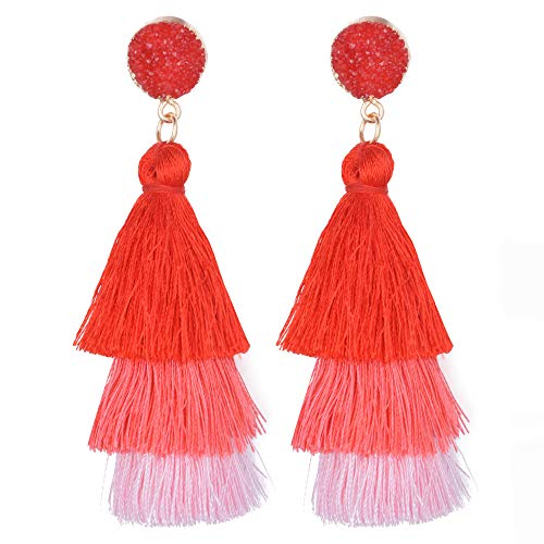Belmarti Colorful Christmas Tree-shaped Layered Tassel Dangle Drop Druzy Stud Earrings Holiday Party Christmas Costume Jewelry for Women Girls (Three-layered Red ()
