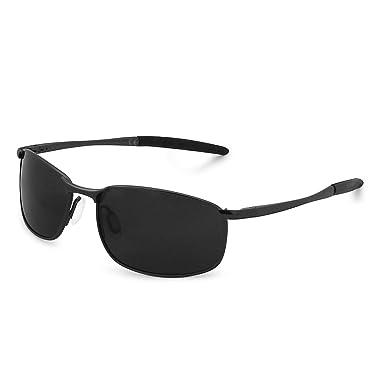 550d4ba814 AMZTM Sports Sunglasses for Men Rectangular Metal Frame Mirrored Polarized  Cycling Sunglasses Fashion Driving Glasses (Black Frame Grey Lens