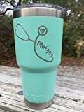 YETI - New DuraCoat Colors Available with Stethoscope design w/Custom Name engraved Stainless Steel Travel Mug - NOT A STICKER!