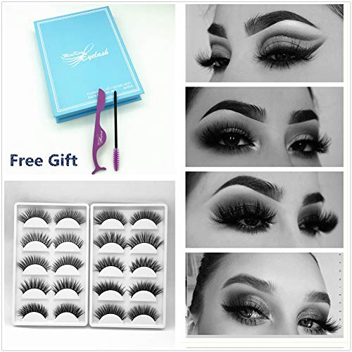 2af49b4d59a Miss Kiss Brand 10 Pairs Different Style 3D Faux Mink Eye lashes Long Thick  Volume Dramatic Wispy Look Fake Eyelashes Strips Soft Fiber Reusable  Handmade ...
