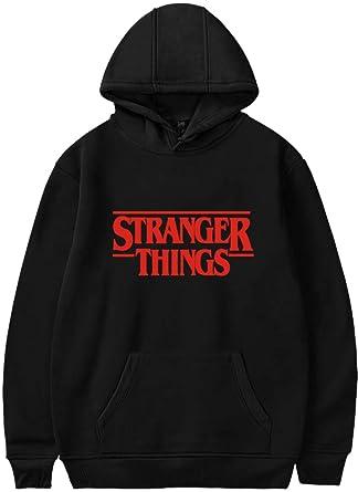 EMILYLE Femme Sweat à Capuche Stranger Things Logo Rouge Hoodie à Manches  Longues