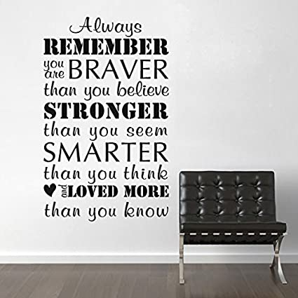Inspirational Wall Decal Sticker Always Remember You Are Braver Office  School Wall Quote£¨Small