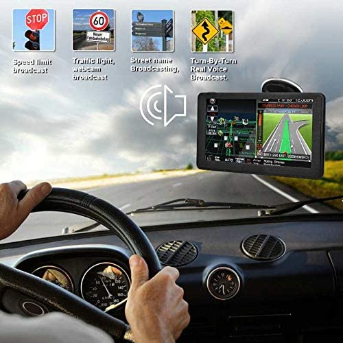 GPS Navigation for Cars 7-inch Large Screen with Sun Visor Voice Turning Traffic Instructions 8GB and 256MB Hard Disk Free map Updates for Life Trucks RVs and Other Vehicles